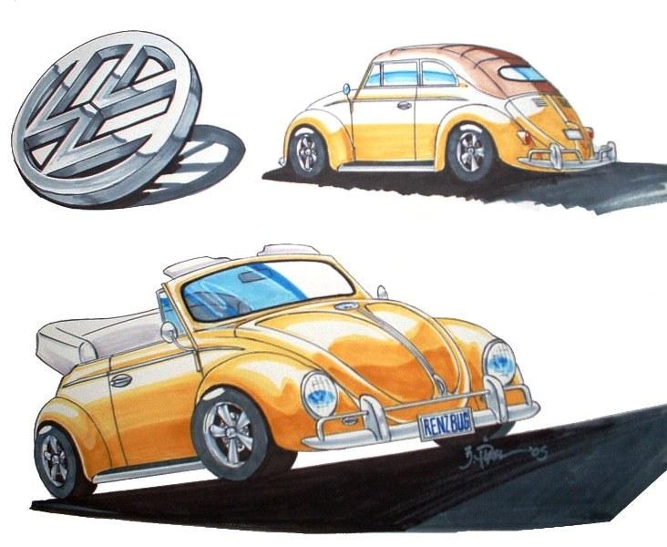 Vw Bug Convertible >> Pilare Art: Gerald Pilare, Illustrator - Ren's VW Bug
